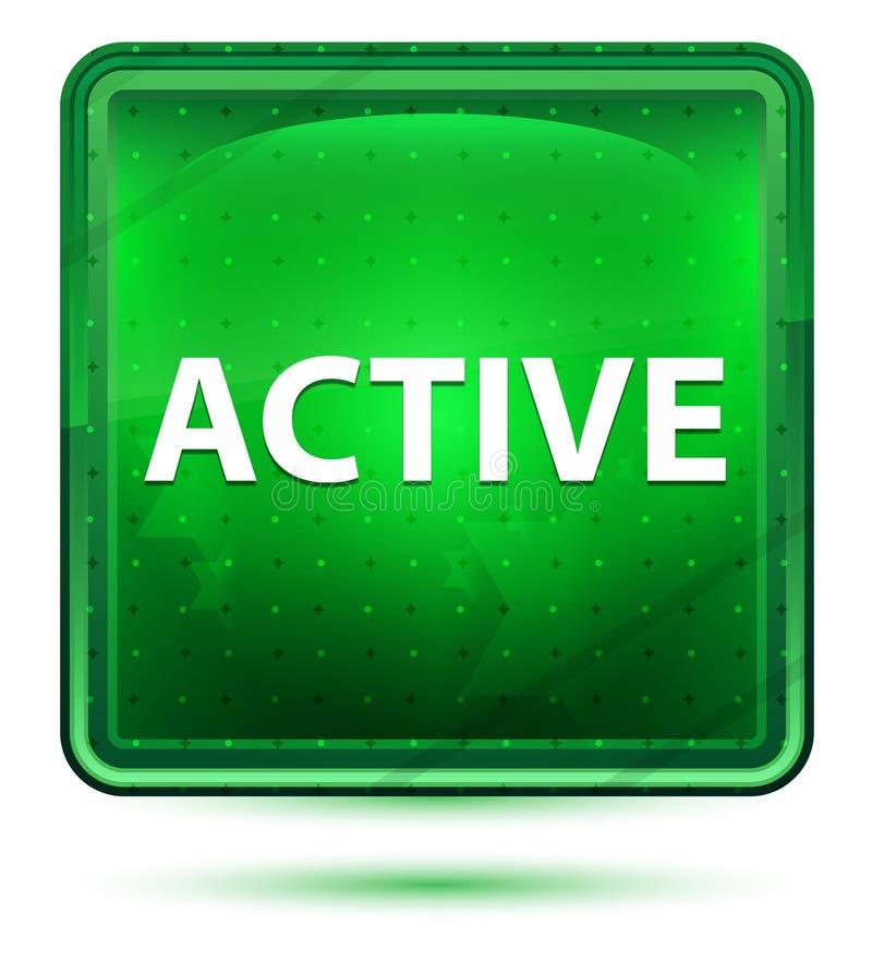 Botón cuadrado verde claro de neón activo ilustración del vector