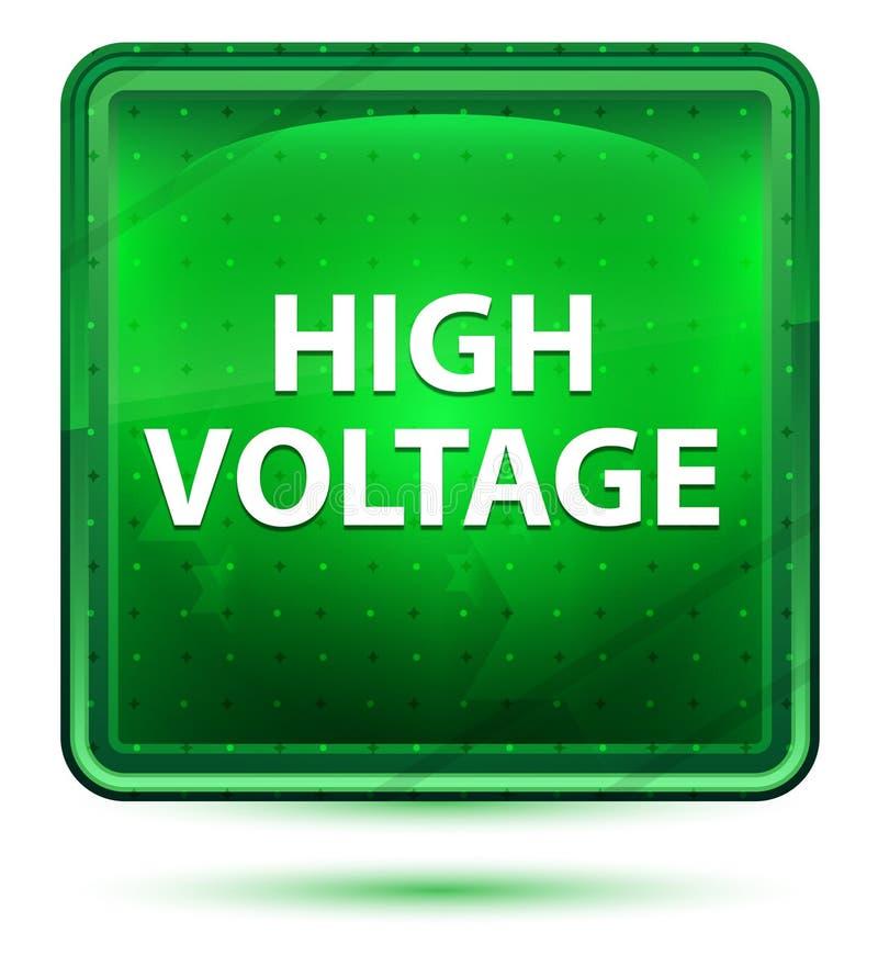 Botón cuadrado verde claro de neón de alto voltaje stock de ilustración