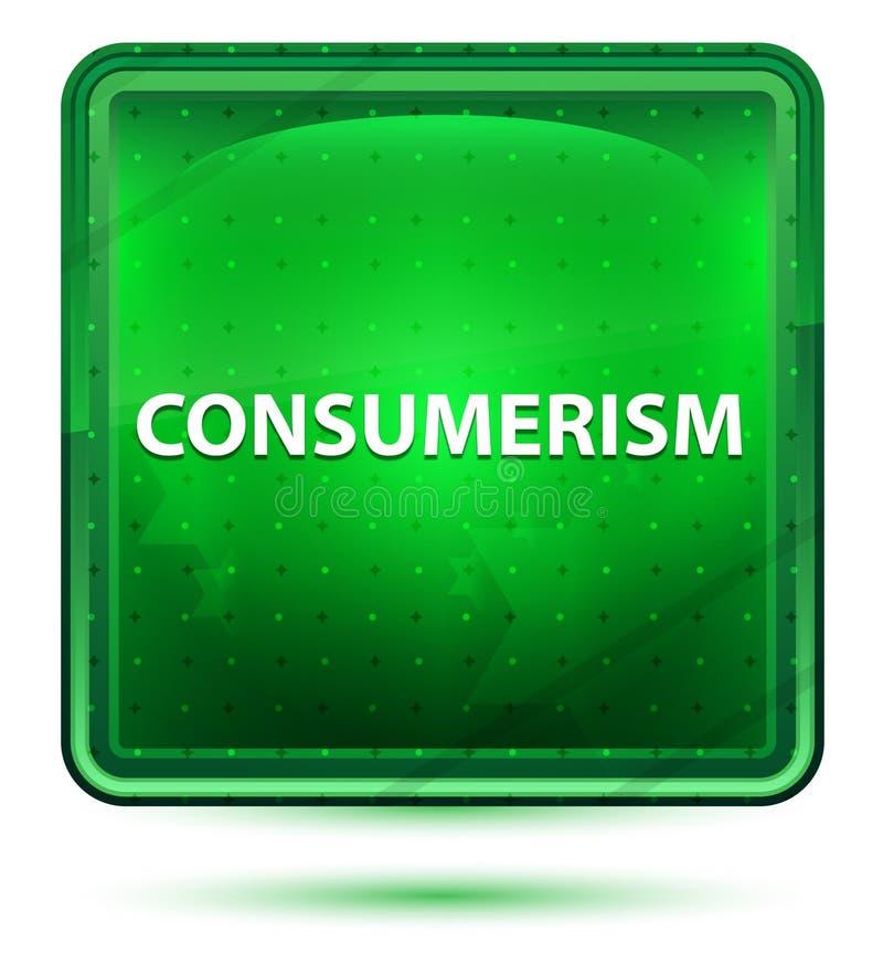 Botón cuadrado verde claro de neón del consumerismo ilustración del vector