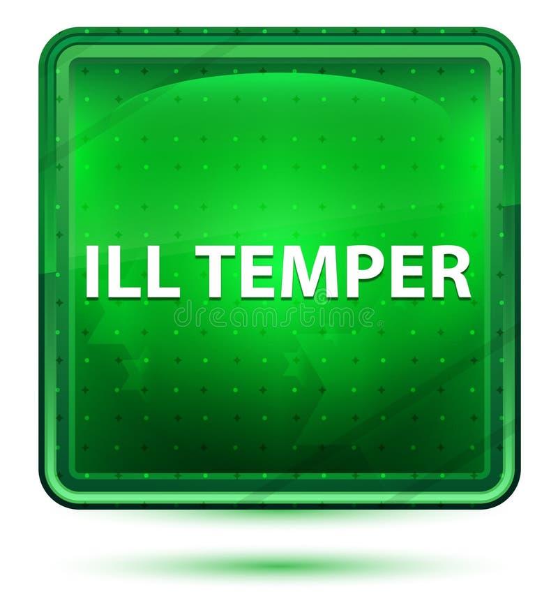 Botón cuadrado verde claro de neón del genio enfermo stock de ilustración