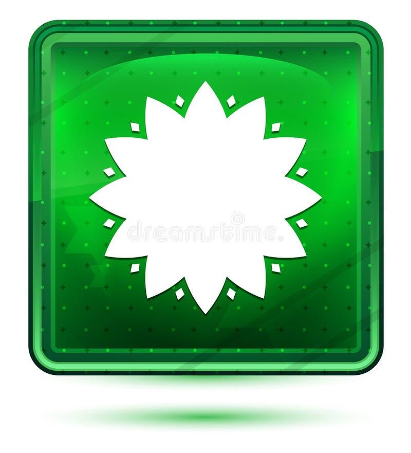 Botón cuadrado verde claro de neón del icono frondoso de la flor ilustración del vector