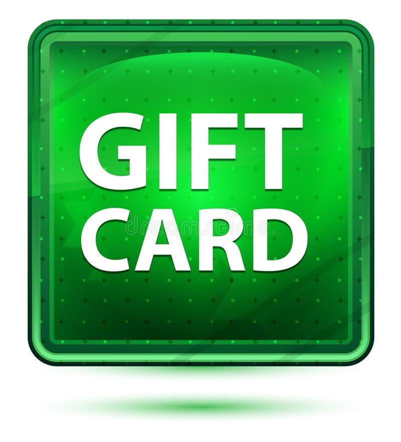 Botón cuadrado verde claro de neón de la tarjeta de regalo imagen de archivo libre de regalías