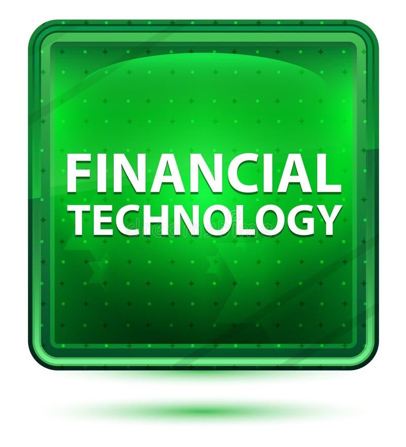 Botón cuadrado verde claro de neón de la tecnología financiera stock de ilustración