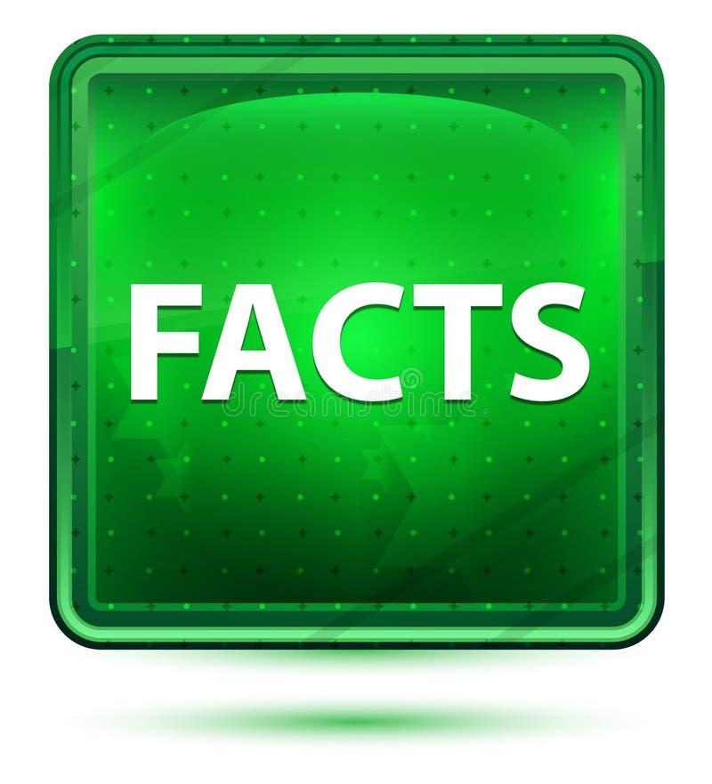 Botón cuadrado verde claro de neón de los hechos stock de ilustración