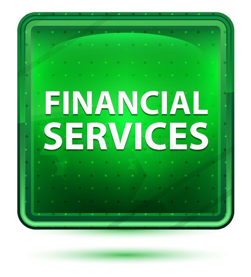Botón cuadrado verde claro de neón de los servicios financieros ilustración del vector