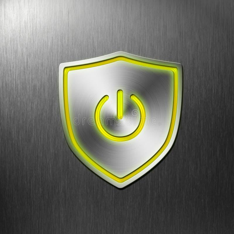 Botón de aluminio del blindaje de la potencia encendido libre illustration