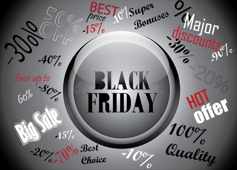 Botón de Black Friday y concepto de los descuentos stock de ilustración