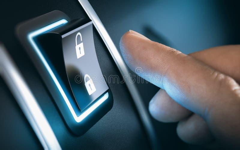Botón de cerradura del coche fotos de archivo