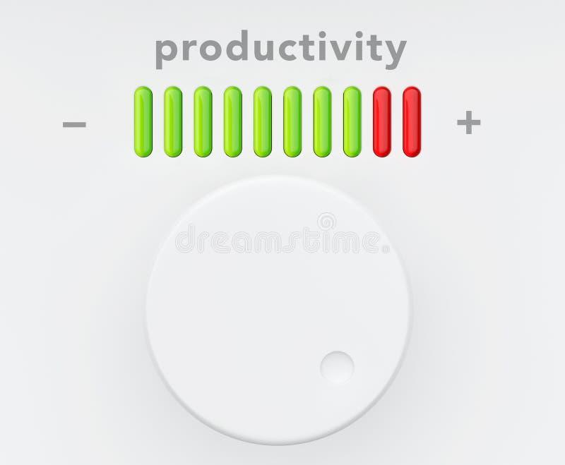 Botón de control con la escala del progreso de productividad ilustración del vector