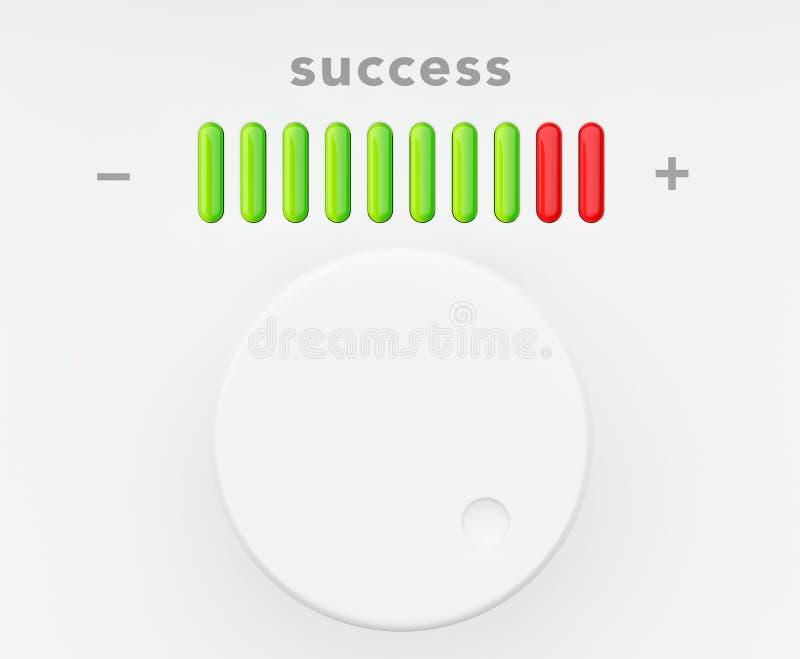 Botón de control con la escala del progreso del éxito stock de ilustración