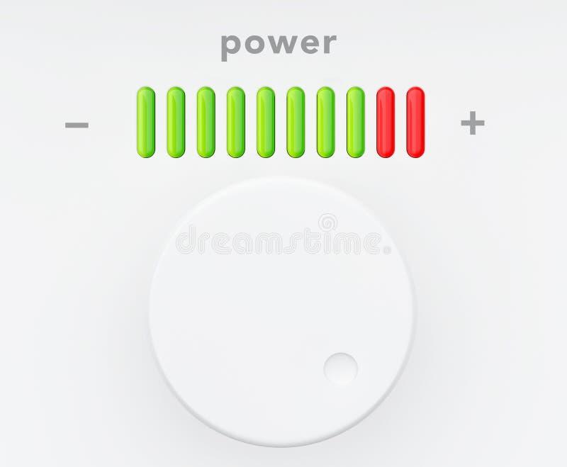 Botón de control con la escala del progreso del poder libre illustration