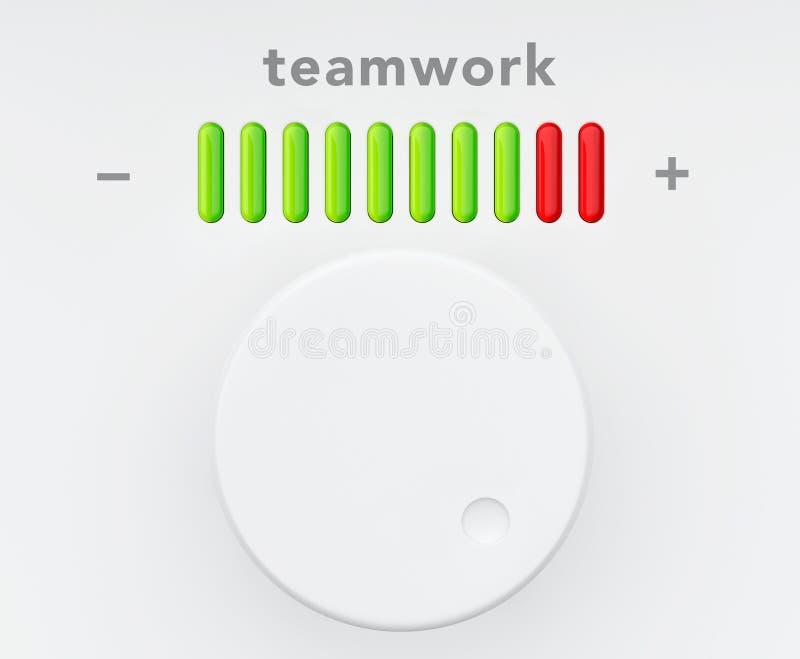 Botón de control con la escala del progreso del trabajo en equipo stock de ilustración