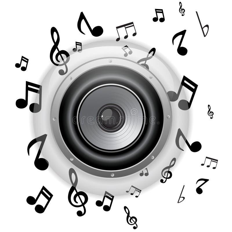 Botón de cristal del altavoz con las notas de la música stock de ilustración