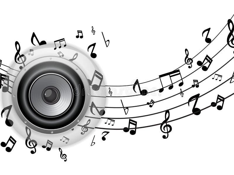 Botón de cristal del altavoz con las notas de la música libre illustration