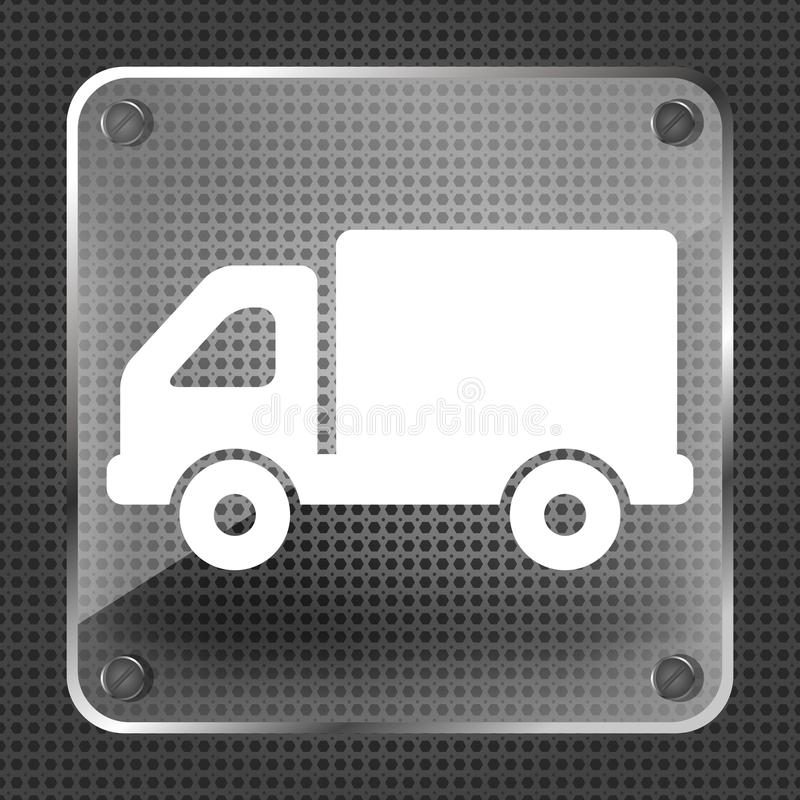 Botón de cristal del icono del camión ilustración del vector