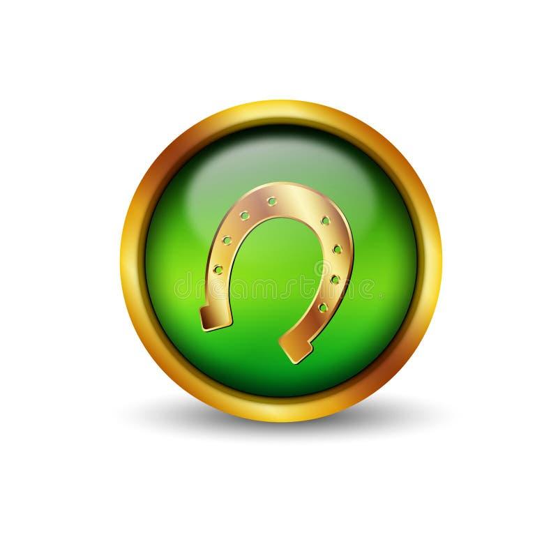 Botón de cristal verde con el borde y la herradura de oro libre illustration