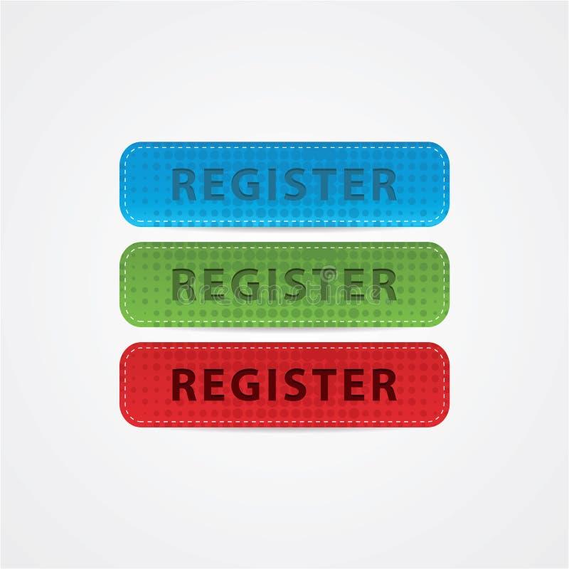 Botón de cuero grande del registro para su Web site. ilustración del vector