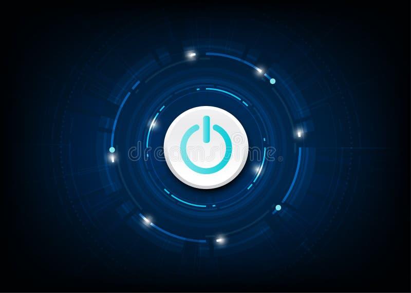 Botón de encendido azul del vector en fondo de la tecnología libre illustration