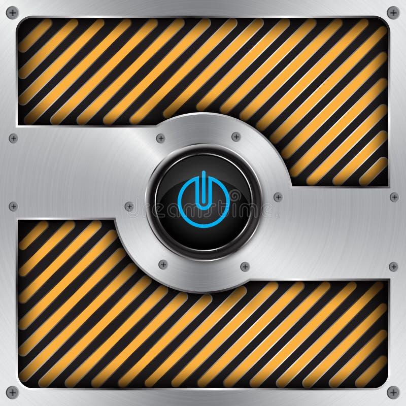 botón de encendido de aluminio, fondo de la tecnología libre illustration