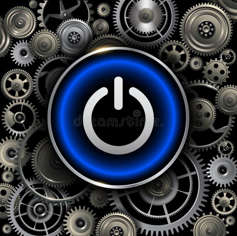 Botón de encendido en fondo de los engranajes stock de ilustración