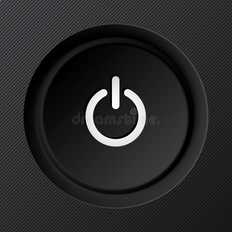 Botón de encendido plástico negro del vector stock de ilustración
