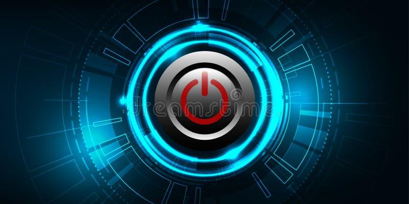 Botón de encendido rojo del vector en fondo de la tecnología libre illustration