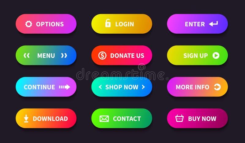 Botón de la acción de la pendiente Bandera de la transferencia directa de la tienda, interfaz oval plano, botones de la navegació libre illustration