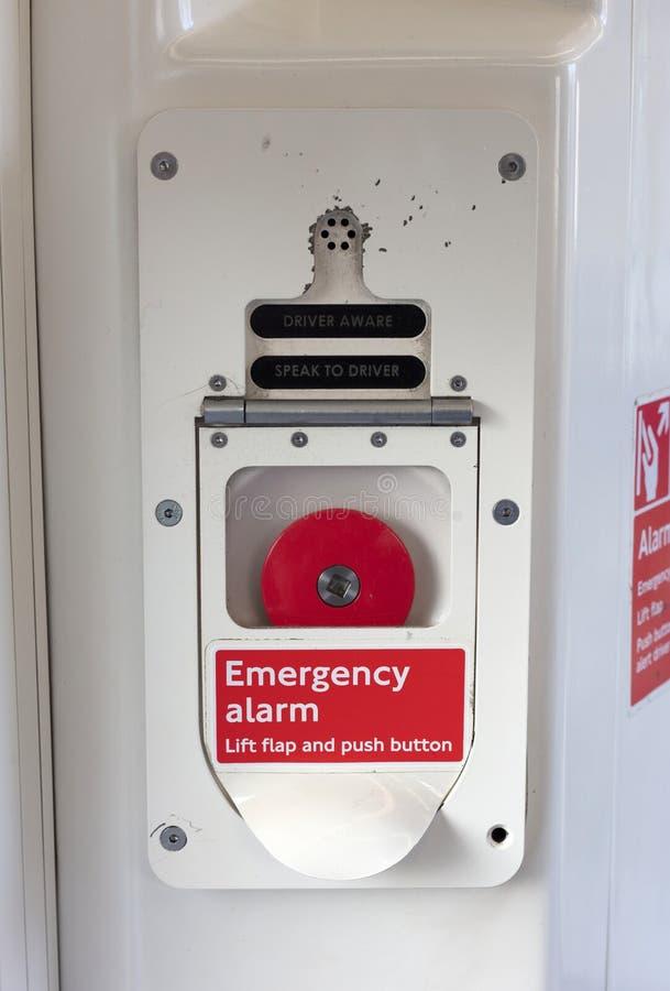 Botón de la alarma de la emergencia, metro de Londres fotografía de archivo