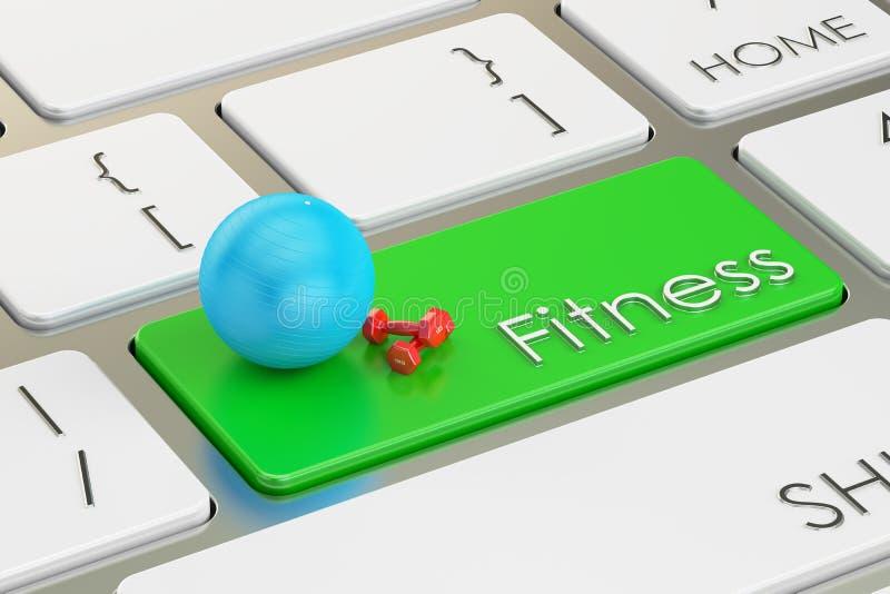 Botón de la aptitud, llave en el teclado stock de ilustración