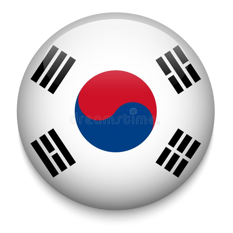 Botón de la bandera de la COREA DEL SUR stock de ilustración