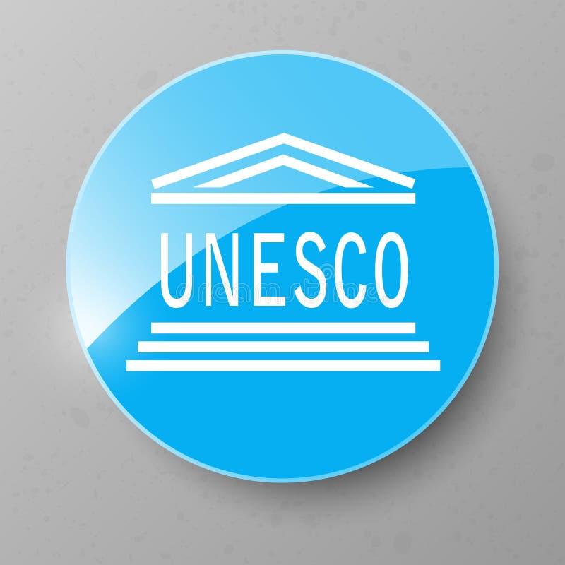 Botón de la bandera de la UNESCO Ilustración del vector ilustración del vector