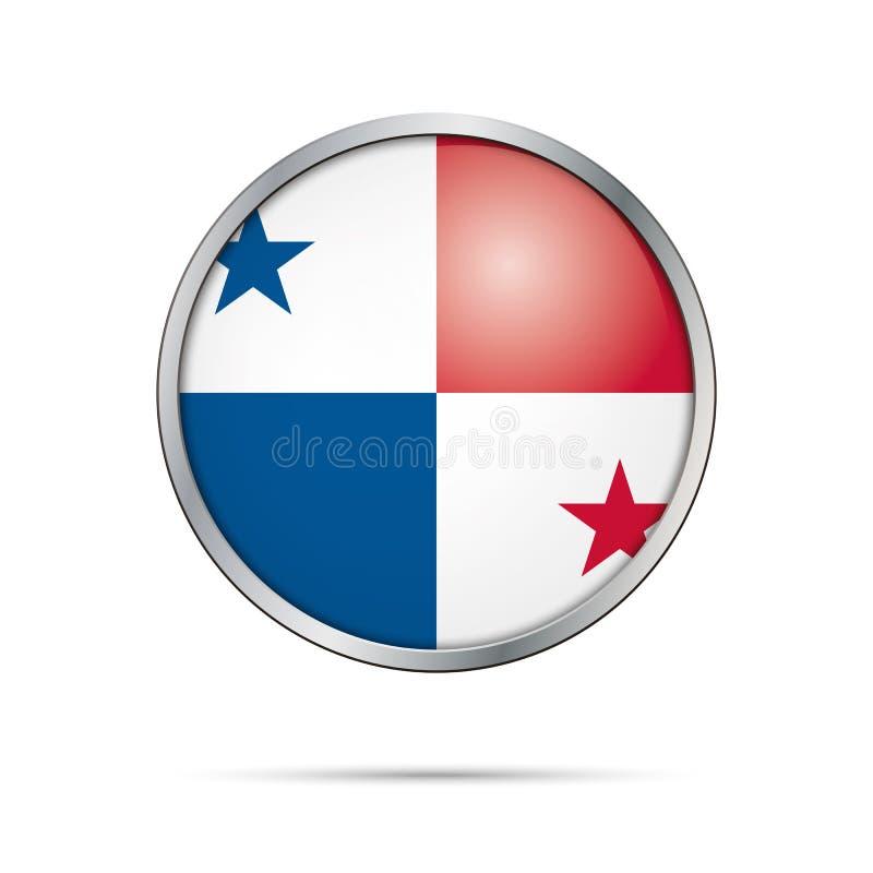 Botón de la bandera de Panamese del vector Bandera de Panamá en el estilo de cristal del botón stock de ilustración