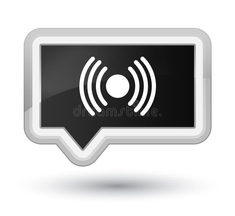 Botón de la bandera del negro de la prima del icono de la señal de la red libre illustration