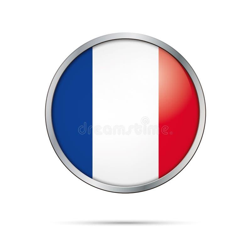 Botón de la bandera del vector Bandera de Francia en el estilo de cristal del botón stock de ilustración