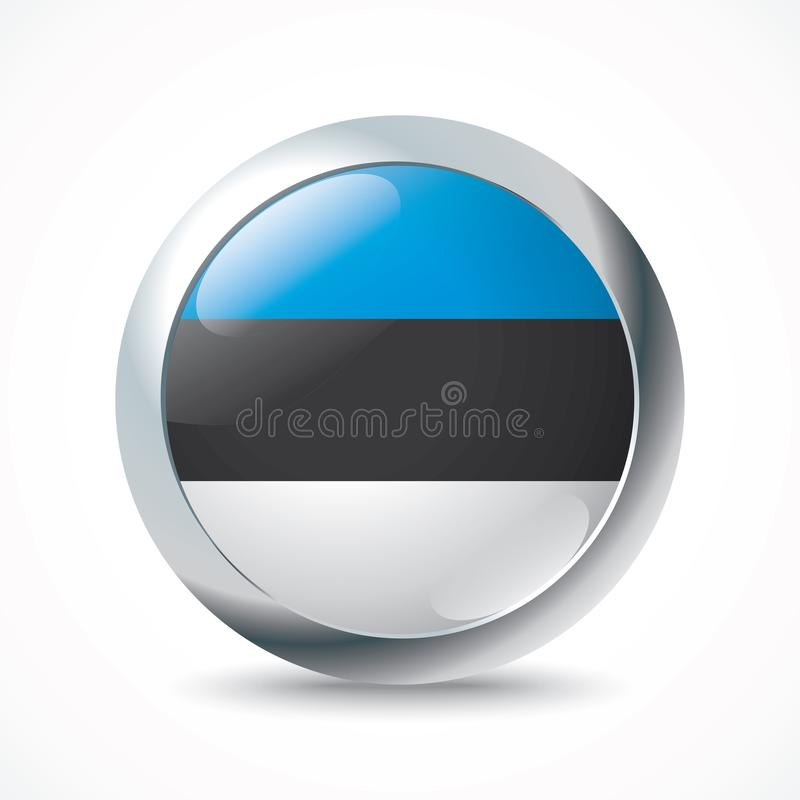 Botón de la bandera de Estonia stock de ilustración