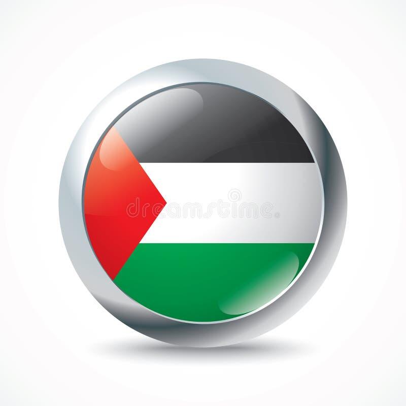 Botón de la bandera de la Franja de Gaza  ilustración del vector