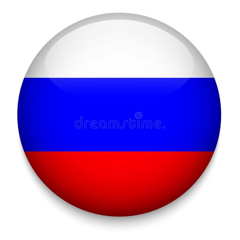 Botón de la bandera de Rusia ilustración del vector