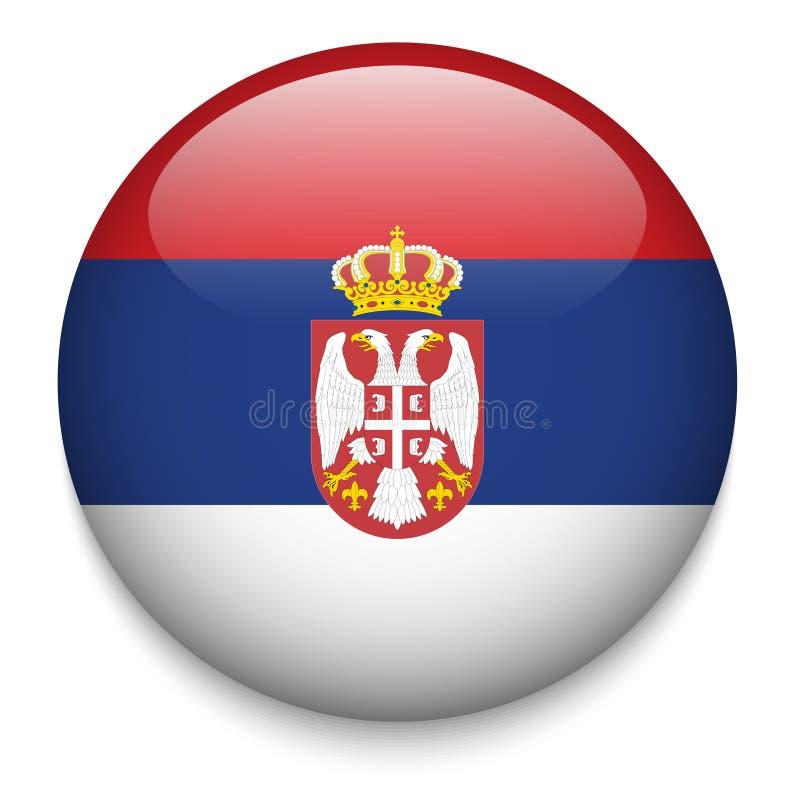 Botón de la bandera de Serbia stock de ilustración