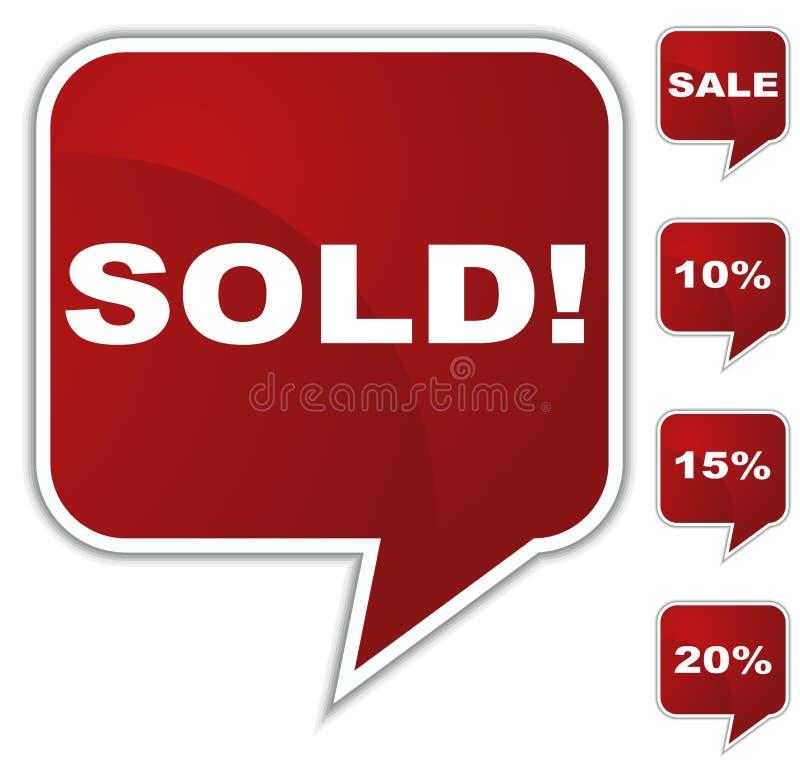 Botón de la burbuja del discurso fijado - vendido ilustración del vector