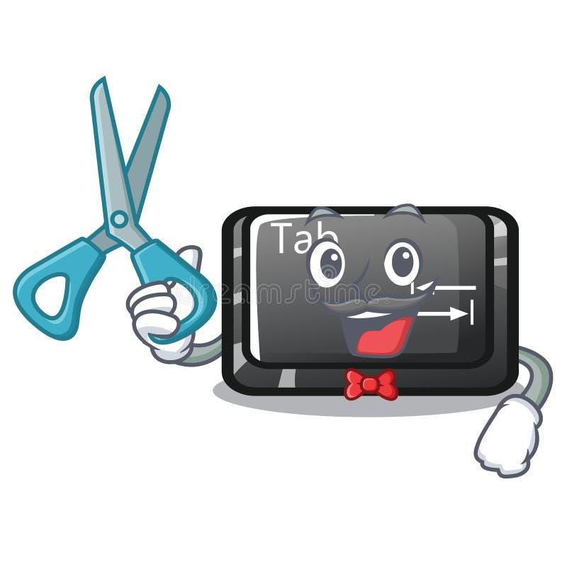 Botón de la etiqueta del peluquero instalado en carácter del ordenador libre illustration
