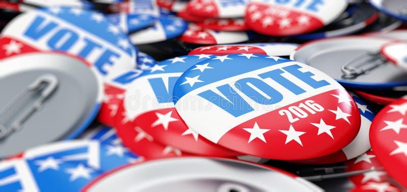 Botón de la insignia de la elección del voto para 2016 ilustración del vector