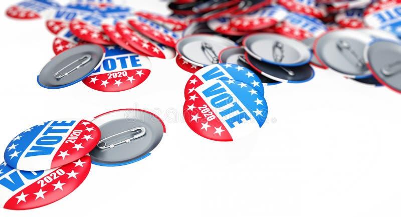 Botón de la insignia de la elección del voto para 2020 el fondo, voto los E.E.U.U. 2020, 3D ejemplo, representación 3D ilustración del vector