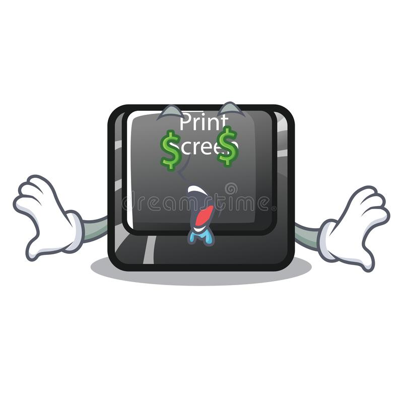 Botón de la pantalla de impresión del ojo del dinero en el teclado de la historieta stock de ilustración