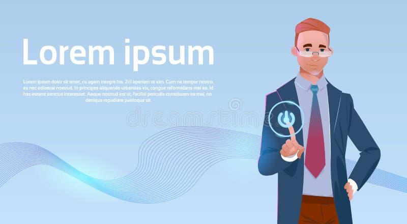 Botón de la pantalla táctil de Digitaces del tacto del hombre de negocios ilustración del vector