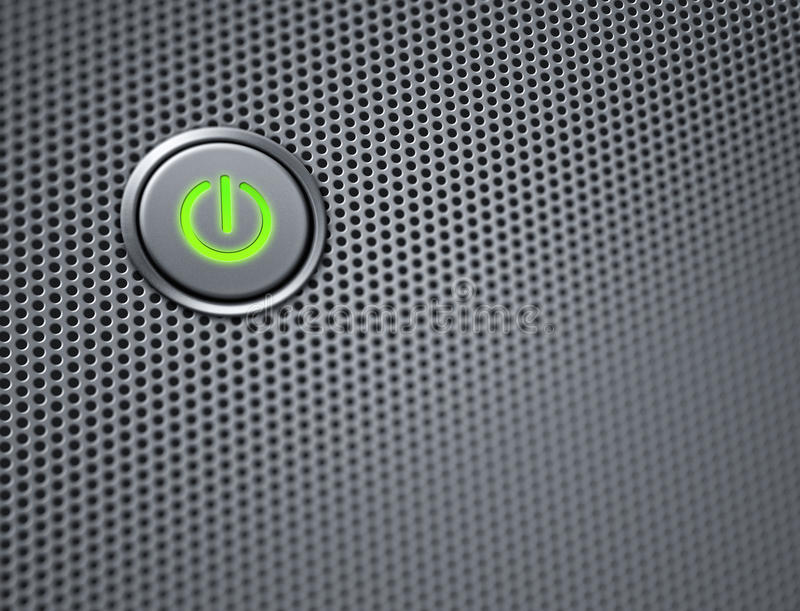 Botón de la potencia del ordenador en el primer imagen de archivo libre de regalías