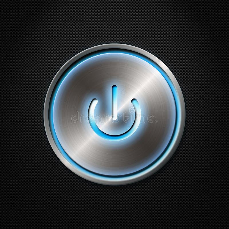 Botón de la potencia en fondo de la fibra del carbón libre illustration