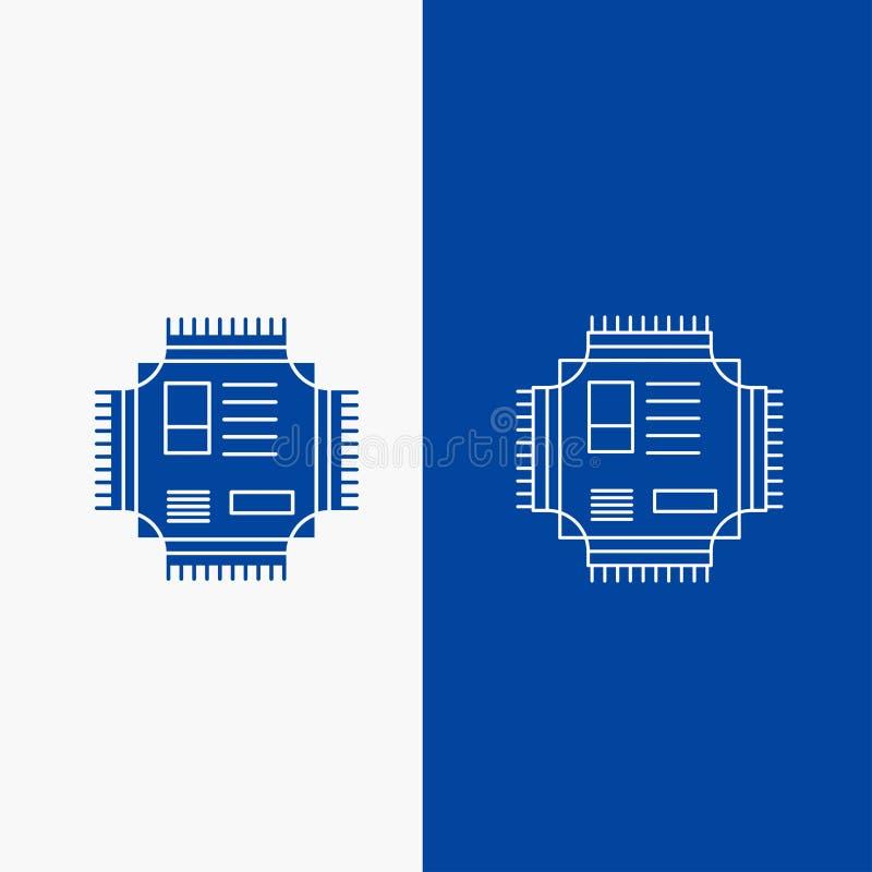 Botón de la web del microprocesador, de la CPU, del microchip, del procesador, de la línea de la tecnología y del Glyph en la ban ilustración del vector