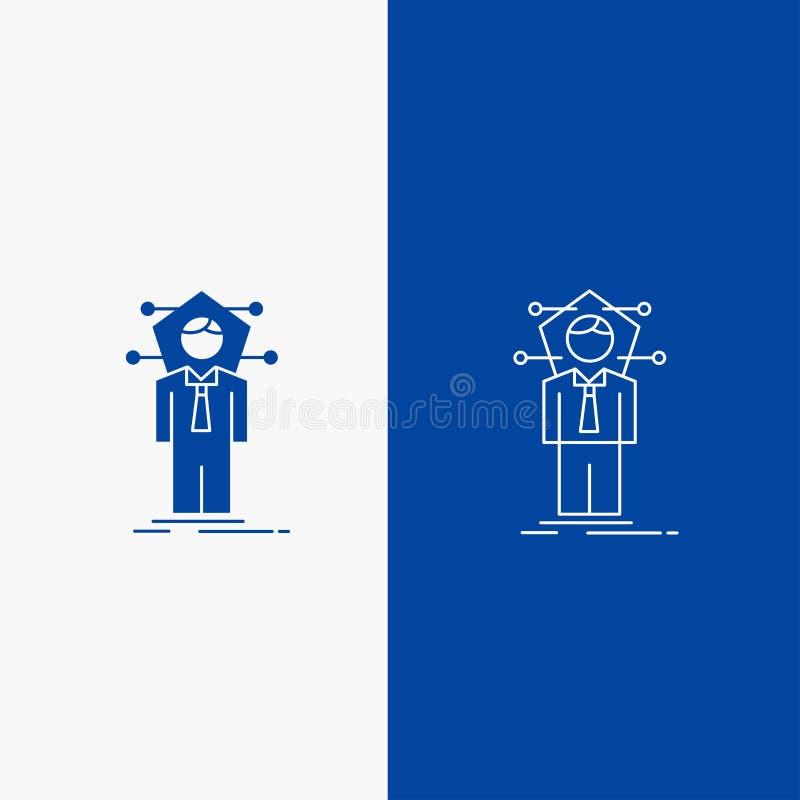 Botón de la web del negocio, de la conexión, del ser humano, de la red, de la línea de la solución y del Glyph en la bandera vert stock de ilustración