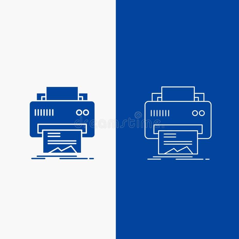 Botón de la web de Digitaces, de la impresora, de la impresión, del hardware, de la línea del papel y del Glyph en la bandera ver ilustración del vector