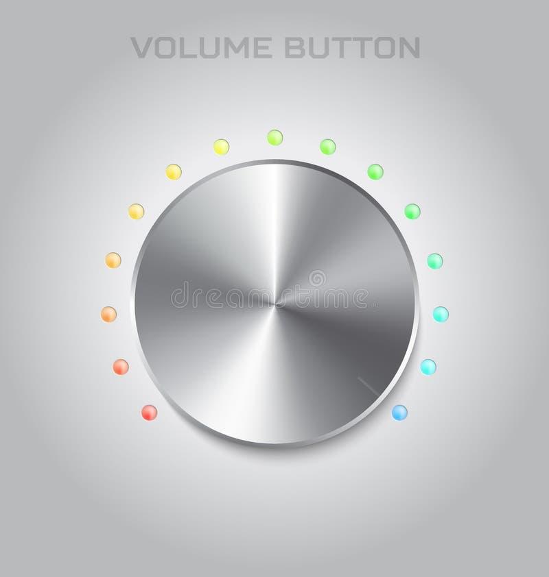 Botón de los ajustes del volumen Textura del metal o del acero Música de Chrome y ilustración del vector